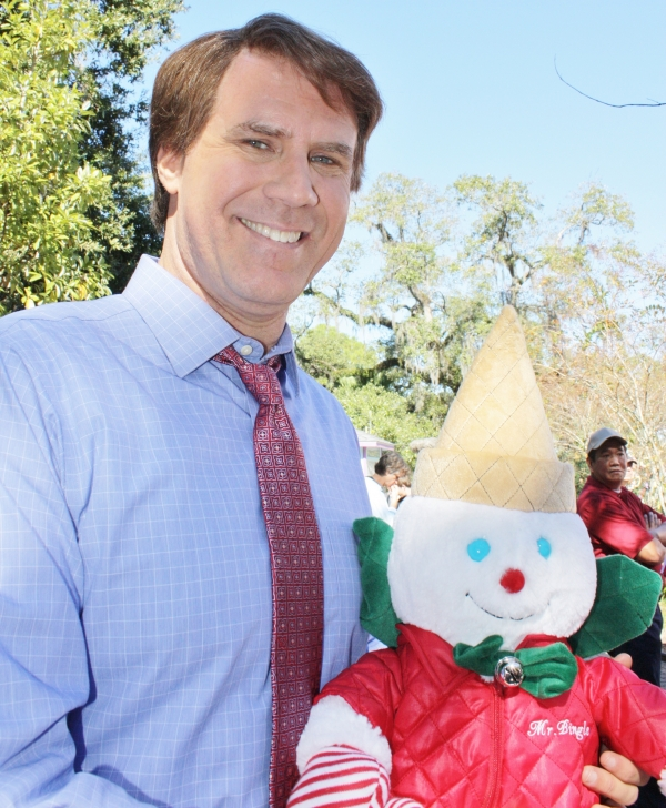 Actor Will Ferrell and Mister Bingle  on the set of 'The Campaign' in Carousel Gardens Amusement Park.