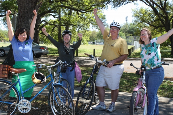 Four Park employees participating in NOLA's Bike to Work Day